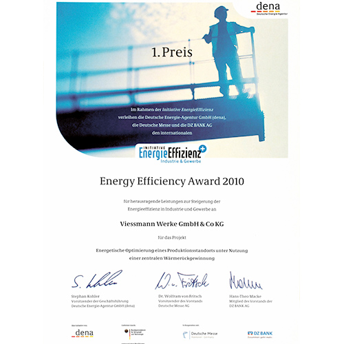 Urkunde über den Energy Efficiency Award für Viessmann